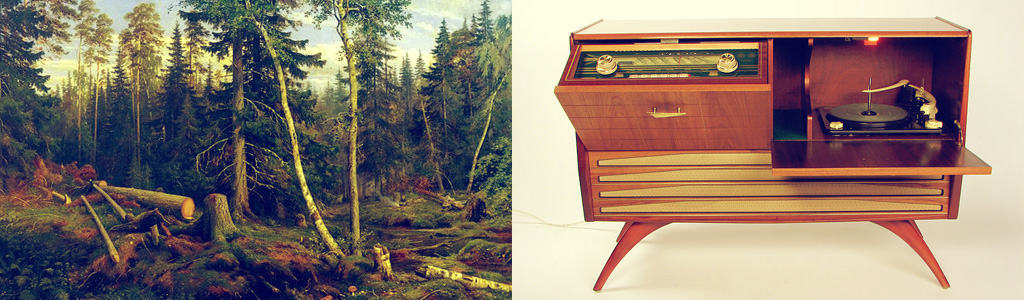 "Left: ""Lumbering"" (oil on canvas) by Ivan Shishkin, 1867. Right: Radiogrammofon Granada III, tillverkare Gylling & Co. Photo: Dan Johansson. CC-by-sa."