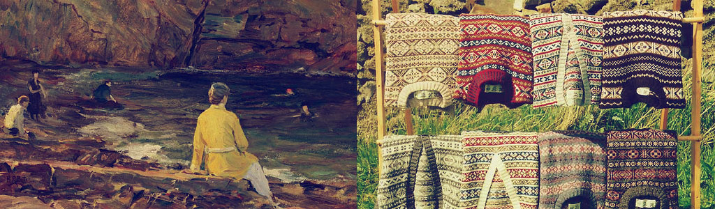 "Left: Howard Russell Butler, <em>Yellow Sweater</em>, before 1934. Right: Dave Wheeler, ""Fairisle Jumpers,"" licensed cc-by-sa."